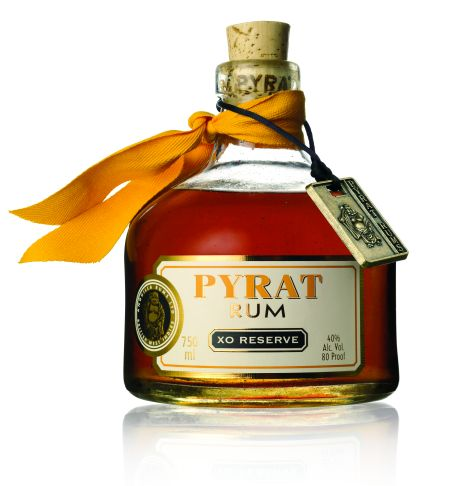 Pyrat XO Reserve: Tantalizing aromas of caramelized onion, buttered almonds, salt water taffy in the opening sniffs; later inhalations detect quieter, still salty scents of oak resin, hard cheese, molasses, holiday fruitcake.